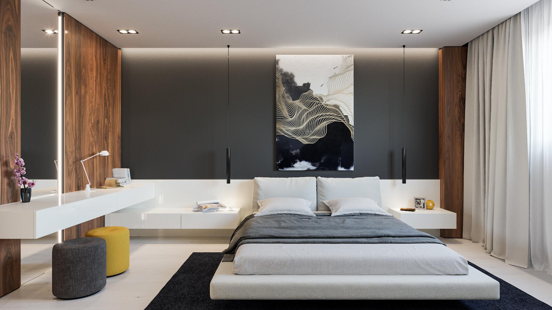 Современная спальня в апартаментах
