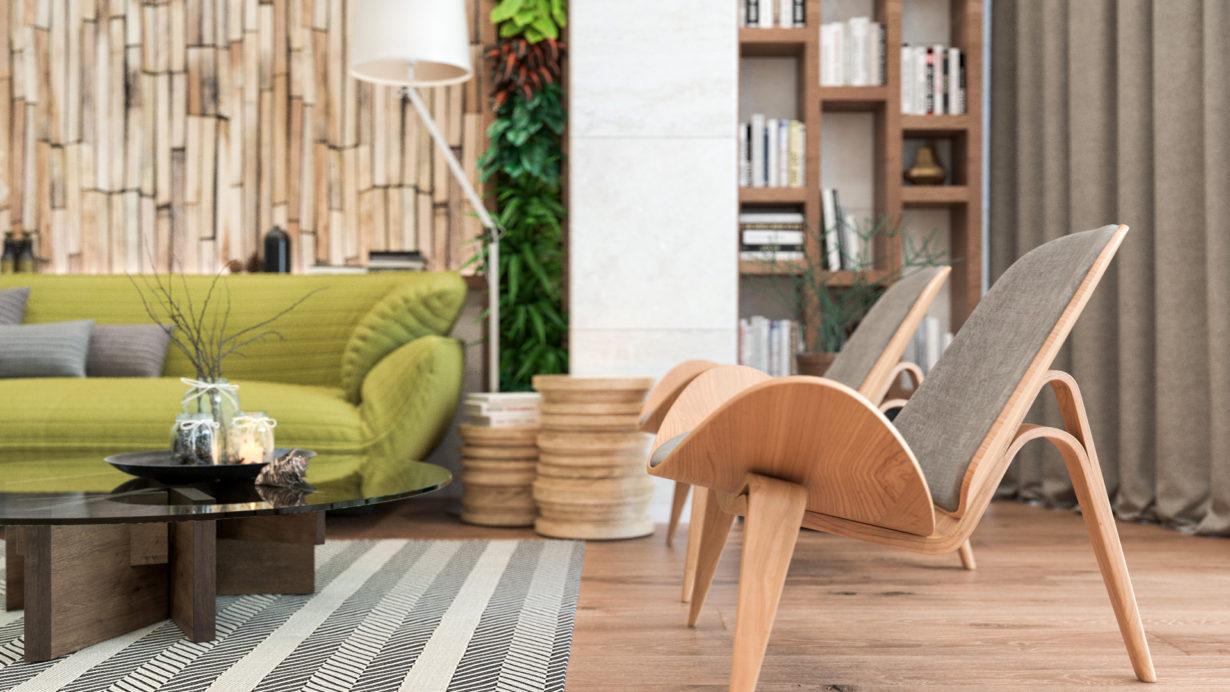 Интерьер квартиры выполненный в ЭКО-стиле