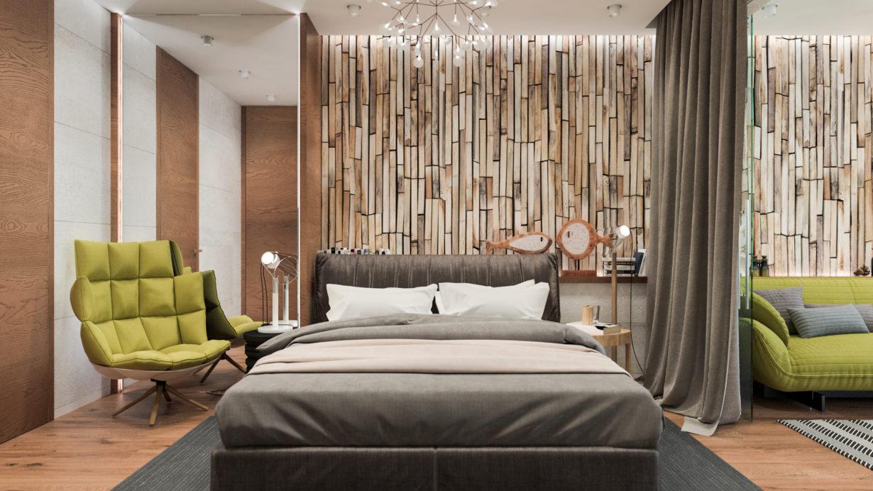 Интерьер спальни выполненный в ЭКО-стиле