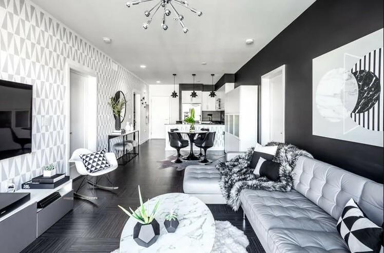 Декор гостиной в черно-белых тонах